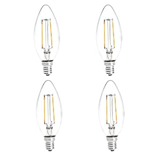 HERO-LED B10 E12 Candelabra Base LED Vintage Antique Filament Bulb, Squirrel Cage Nostalgic Decorative Tungsten Filament Replacement Incandescent Bulbs, 4-Pack(Not Dimmable)