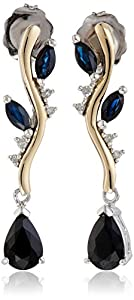 Sterling Silver and 14k Yellow Gold Blue Sapphire and Diamond-Accent Earrings (0.02cttw, I-J Color, I3 Clarity)