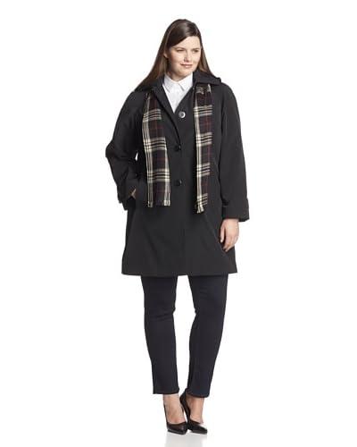 London Fog Women's Plus Raincoat with Scarf