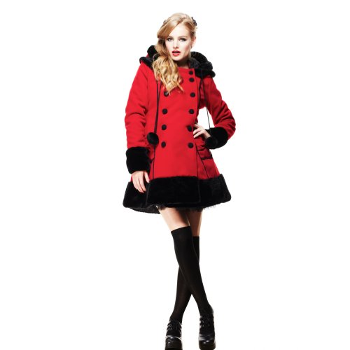 Hell Bunny breve cappotto SARAH JANE COAT Red-black rosso/nero 46/48