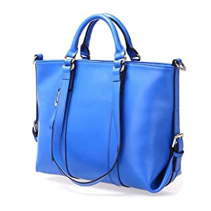 Fineplus Women's Cute Roomy Leather Multifunctional Shoulder Tote Bag Cobalt Blue