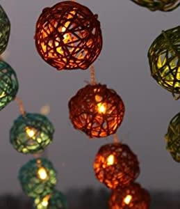 Amazon.com: New Solar Powered LED Brown Rattan Garden Lantern Fairy Light String - By GLOWFROST ...