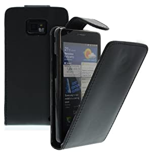 Premium Flip case Etui Tasche Hülle cover Schale Lederetui Handytasche Schwarz für Samsung Galaxy S2 S II i9100 slim mit Magnetverschluss PU Leder schutztasche