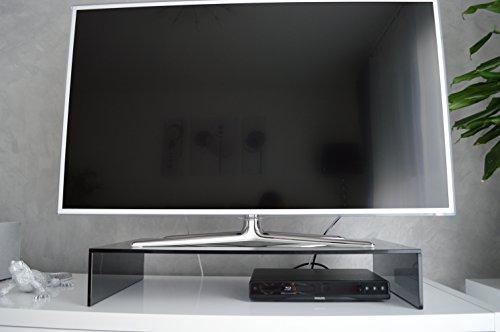 Glas-TV-Aufsatz-Ponte-in-Schwarzglas-586580100-cm-Rauchglas-Grauglas-Bruecke-Lowboard