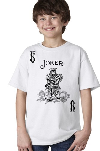 [JOKER CARD Youth T-shirt / Card Costume Tee Shirt, Magic Trick Tee-White-Medium] (Card Joker Costumes)