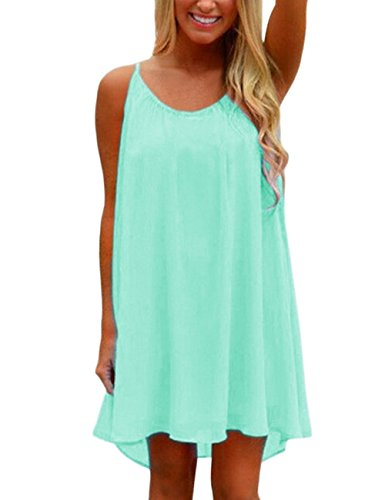 Yidarton Womens Summer Casual Sleeveless Evening Party Beach Dress Blue Large