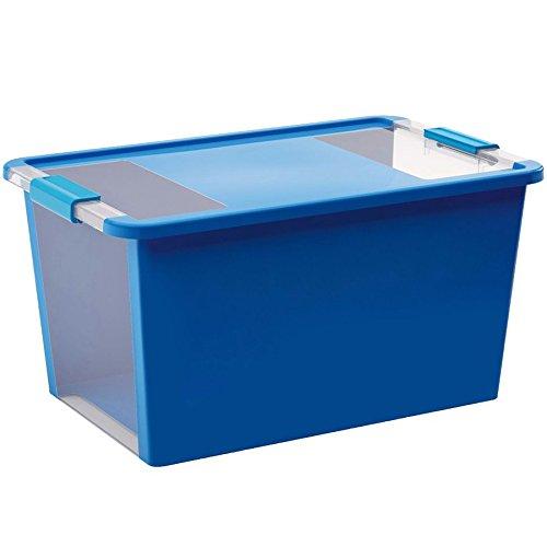 Kis 8454000 0454 01 Bi Box-Scatola portaoggetti in plastica, 40 litri, colore: blu/trasparente