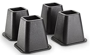 Black Bed Risers, 4-Pack (Stronger Support)
