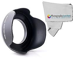 Sonia 52mm Screw on Tulip Shaped Flower Lens Hood + Free Photography Junction Premium Micro Fiber Cloth for Nikon 18-55mm DSLR D7100 D5200 D5100 D5000 D3300 D3200 D3100 D90 D80 D5500