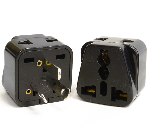 Orei 2 In 1 Usa To Australia/China Adapter Plug - 2 Pack, Black