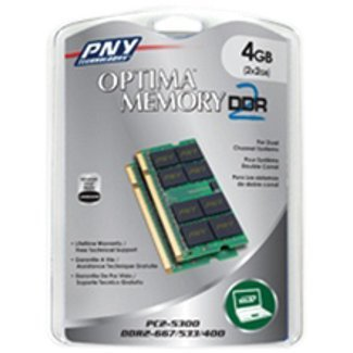PNY OPTIMA 4GB (2x2GB) Dual Channel Kit DDR2 667 MHz PC2-5300 Notebook / Laptop SODIMM Memory Modules MN4096KD2-667 (Pny Pc2 5300 Notebook Memory compare prices)