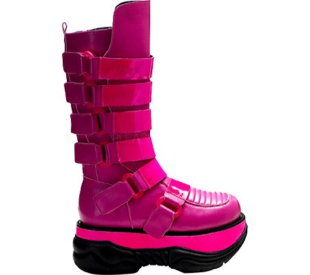 Cyber Boots, Pleaser Men's Neptune-310UV-HP Boot, Cyber Goth, Futuristic Fashion, Pink Boots