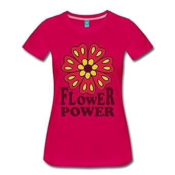 Spreadshirt Damen Flower Power Blume T-Shirt, dunkles Pink, 3XL
