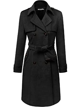 Doublju Double Breasted Belted Trench Coat