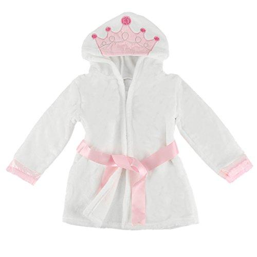 Puseky Baby Girls Princess Crown Lace Dressing Gown Bath Robe Sleepwear Pajamas (4-5 Year, White+Pink)