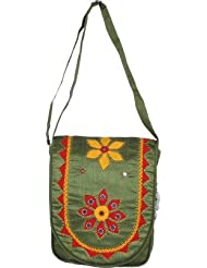 Empower Trust Women Casual Green Cotton Sling Bag