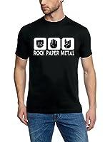 Coole-Fun-T-Shirts Herren T-Shirt Rock Paper Heavy Metal
