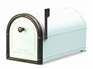 Architectural Mailboxes Coronado Mailbox with Antique Copper Accents, White