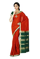 Kaushika Crepe Mysore Traditional Silk Saree Red BottleGreen