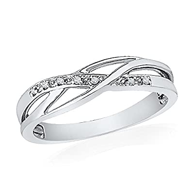 Twisted Diamond Fashion Promise Ring with Sterling Silver and Round Diamonds