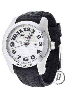 Police 12174JS-04 Mens Attire Silver Dial and Black Leather Strap Watch