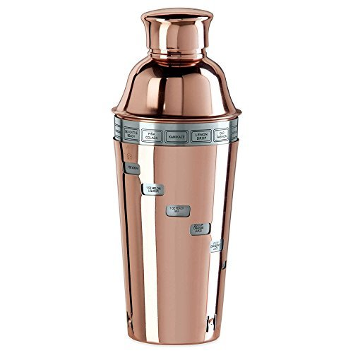 Copper Plated 4 Pieces Cocktail Shaker Set with 15 Drink Recipe Attached (Oggi Dial A Drink compare prices)