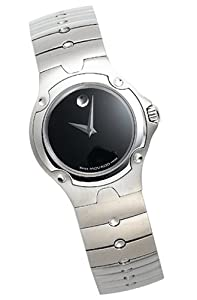 Movado Sports Edition Stainless Steel Womens Watch Black Dial 0604459
