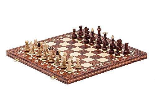 40.6cm Large Fabriqués À La Main Junior Bois Set D'échecs 41cm x 41cm