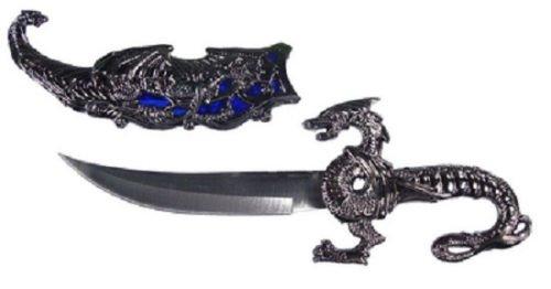 """10"""" Blue Inlay Fantasy Dragon Dagger W/Sheath Blade Knife Sword Unique Cool C49B"""