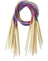 18 Tailles 2.0mm-10.0mm 80cm Aiguilles à Tricoter Circulaire en Bambou avec Tubes Colorés