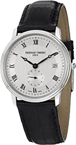 Frederique Constant Slim Line Silver Dial Black Leather Mens Watch FC-245M4S6 from Frederique Constant