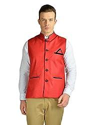 FDN Men's Jute Waistcoat(RED775_Red_L)
