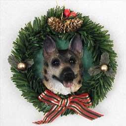 German Shepherd Tan & Black Wreath Christmas Ornament from Conversation Concepts