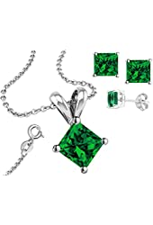 925 Sterling Silver Cubic Zirconia Princess Cut Emerald Pendant and Earrings Jewelry Set