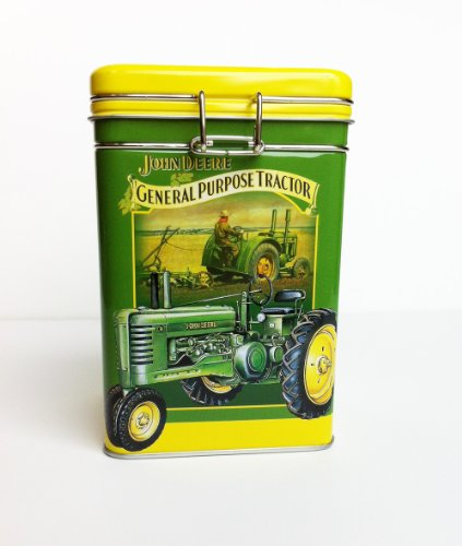 John Deere Lock-Top Tin Storage Canister (Man on Cultivator Tractor)