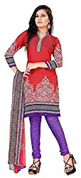 Fashions World Fancy Red Crepe Dress Material