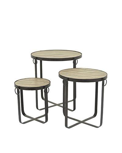 Three Hands Set of 3 Industrial Metal & Wood Side Tables, Black