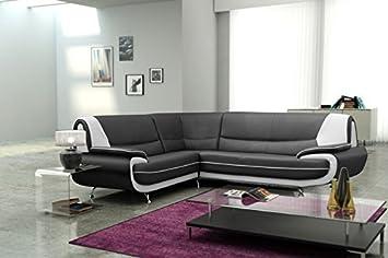 Muebles Bonitos - Sofá rinconera luana en color negro con blanco - izquierda