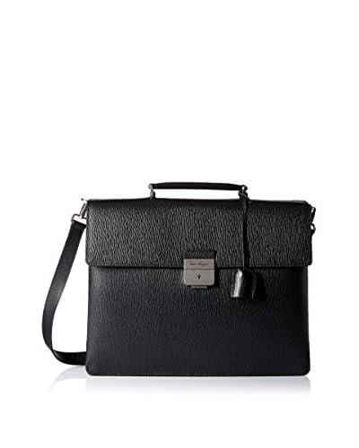 Salvatore Ferragamo Men's Textured Leather Briefcase, Black