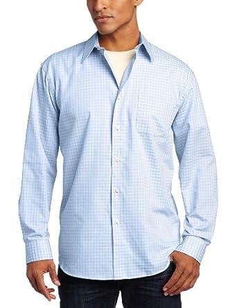 Van Heusen Men's Long Sleeve Color Dobbies, Blue Cerulean, Medium