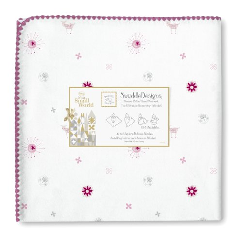 SwaddleDesigns Ultimate Receiving Blanket, Disney It's a Small World - Suns and Lambs, Very Berry