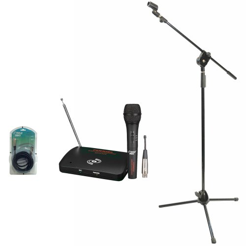 Pyle Mic And Stand Package - Pdwm100 Dual Function Wireless/Wired Microphone System - Pmks3 Tripod Microphone Stand W/ Extending Boom - Ppfmxlr15 15Ft. Xlr Male To Xlr Female Microphone Cable