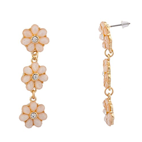 Lux Accessories Tiered Floral Peach Flower Crystal Dangle Earrings (Vintage Glamour Costumes)