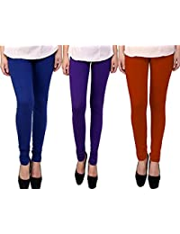 Snoogg Womens Ethnic Chic Inspired Churidar Leggings In Blue, Purple And Brown
