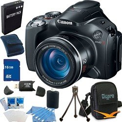 Canon Powershot SX40 HS 12.1MP Digital Camera with 35x Wide Angle Optical Image Stabilized Zoom and 2.7-inch Vari-Angle Wide LCD Super Bundle W/ 16 GB Secure Digital High-Capacity (SDHC) Mem. Card, Hi-Speed SD USB 2.0 Card Reader, BP 1150mah Batt Pack, D