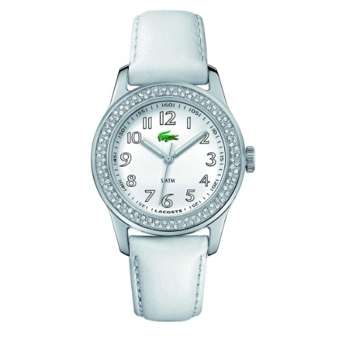 Lacoste Advantage White Dial White Leather Ladies Watch 2000464