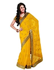 MemSahiba Women Chiffon Saree with Zari Patti Border Yellow