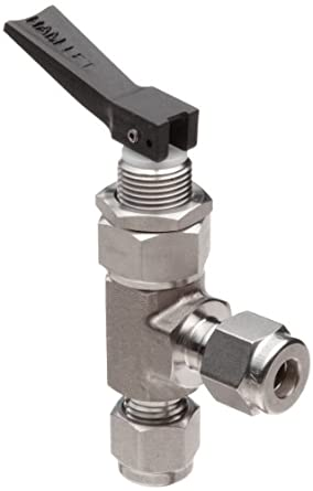 "Ham-Let H1200 Series  Stainless Steel 316 Toggle Valve, Angle, 1/4"" Let-Lok Fitting"
