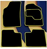 RENAULT CLIO DYNAMIQUE (01-08) BLACK CARPET MATS + YELLOW EDGING