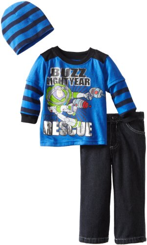 Disney Baby-Boys Infant Buzz Lightyear 3 Piece Pant And Beanie Set, Blue, 18 Months
